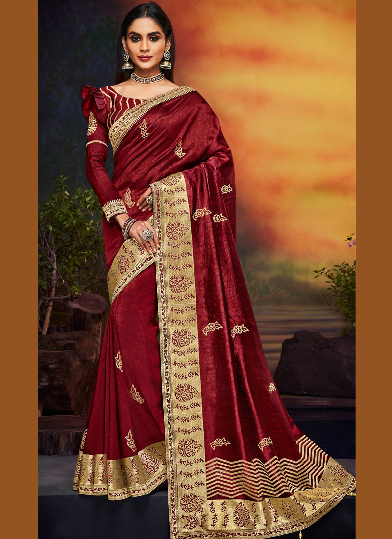 Majesty Patch Border Art Silk Maroon Designer Traditional Saree