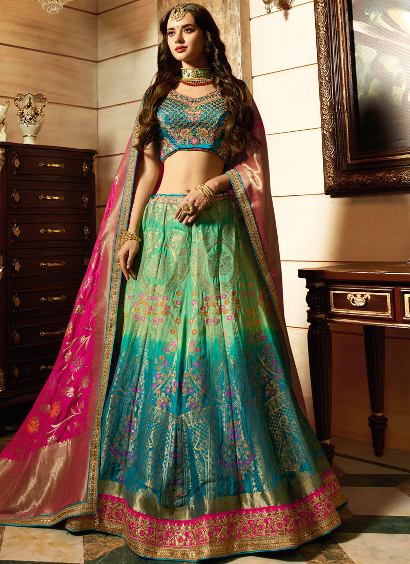 Malaika Arora Khan Art Silk Blue and Sea Green Lehenga Choli
