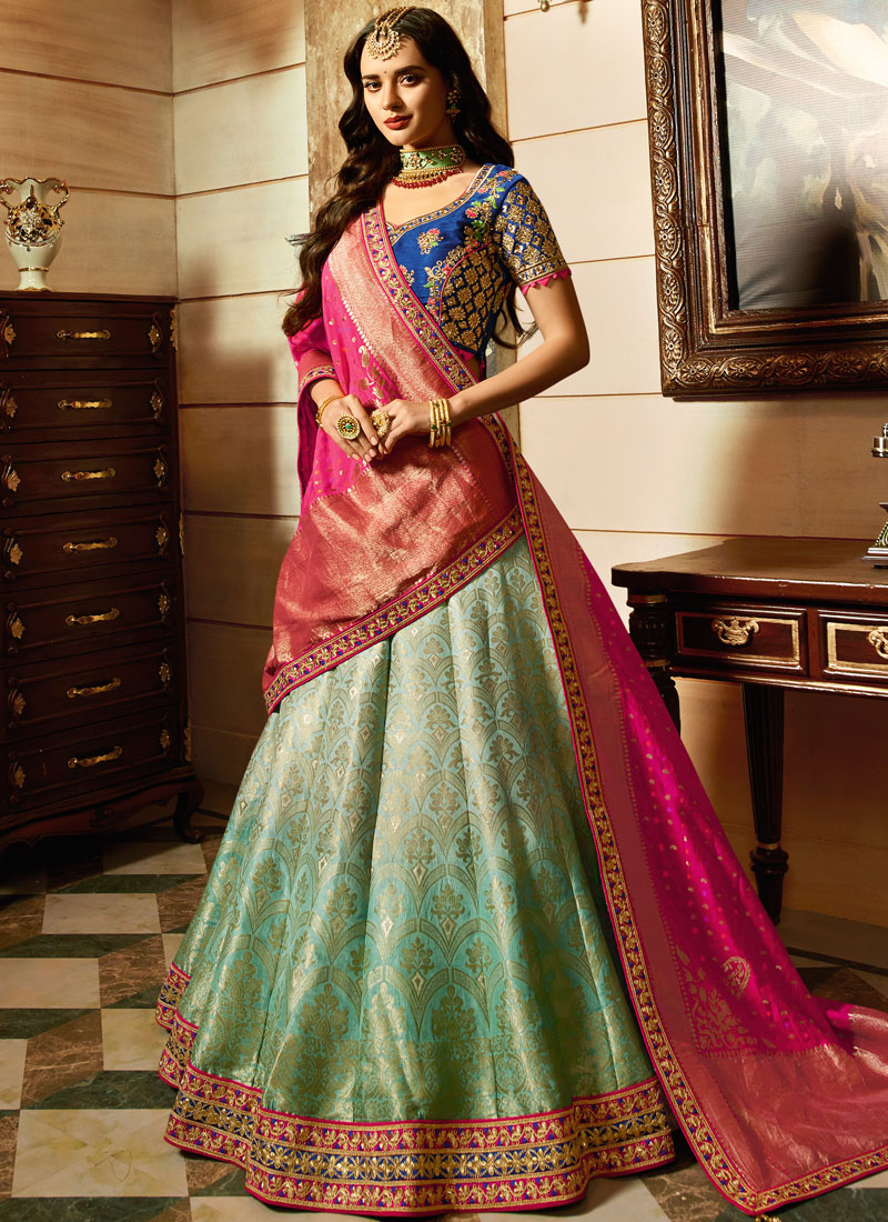 Malaika Arora Khan Art Silk Sea Green Zari Lehenga Choli