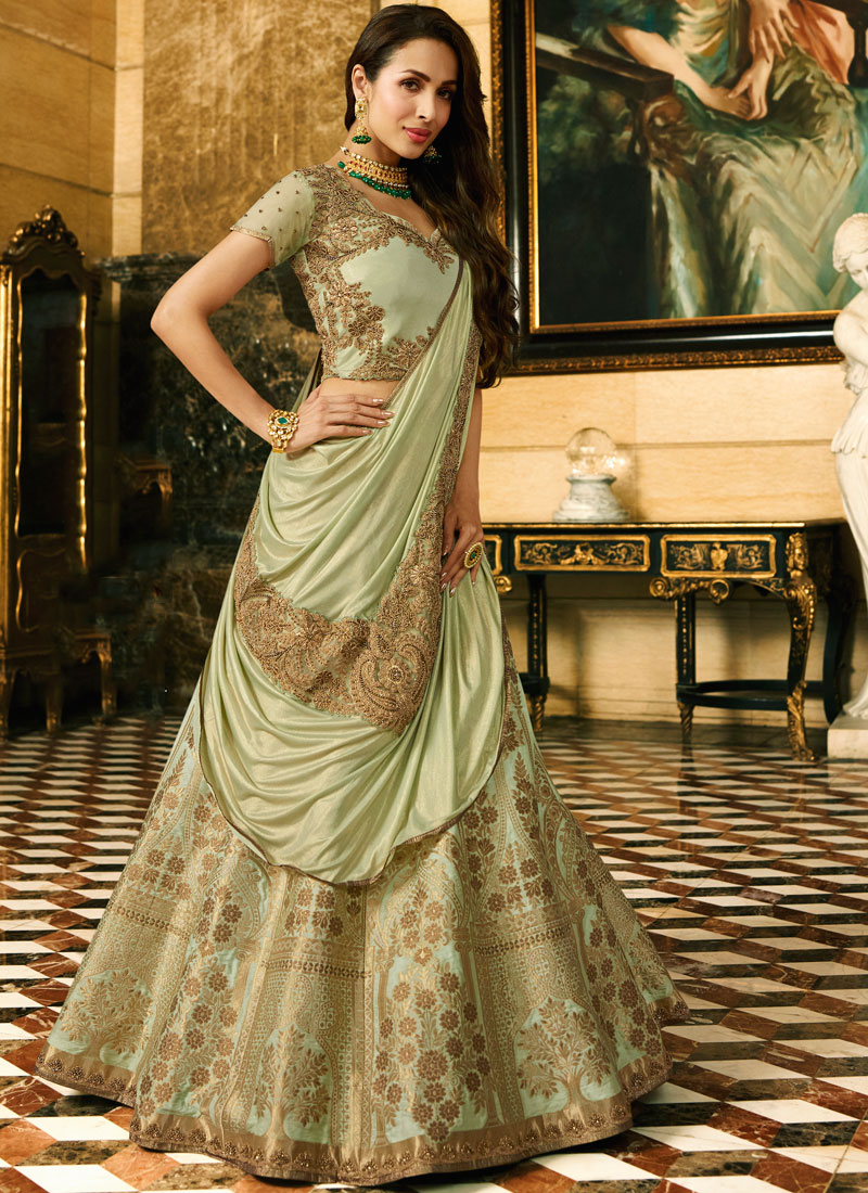 Malaika Arora Khan Green Art Silk Lehenga Choli