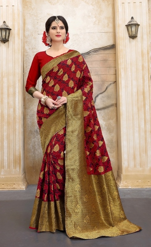 Maroon and golden designer flower abstract print sarees