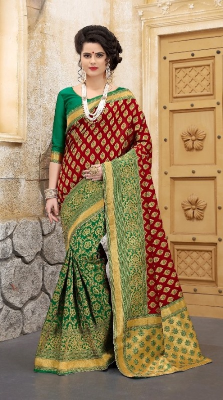 maroon and green combine abstract print banarasi saree