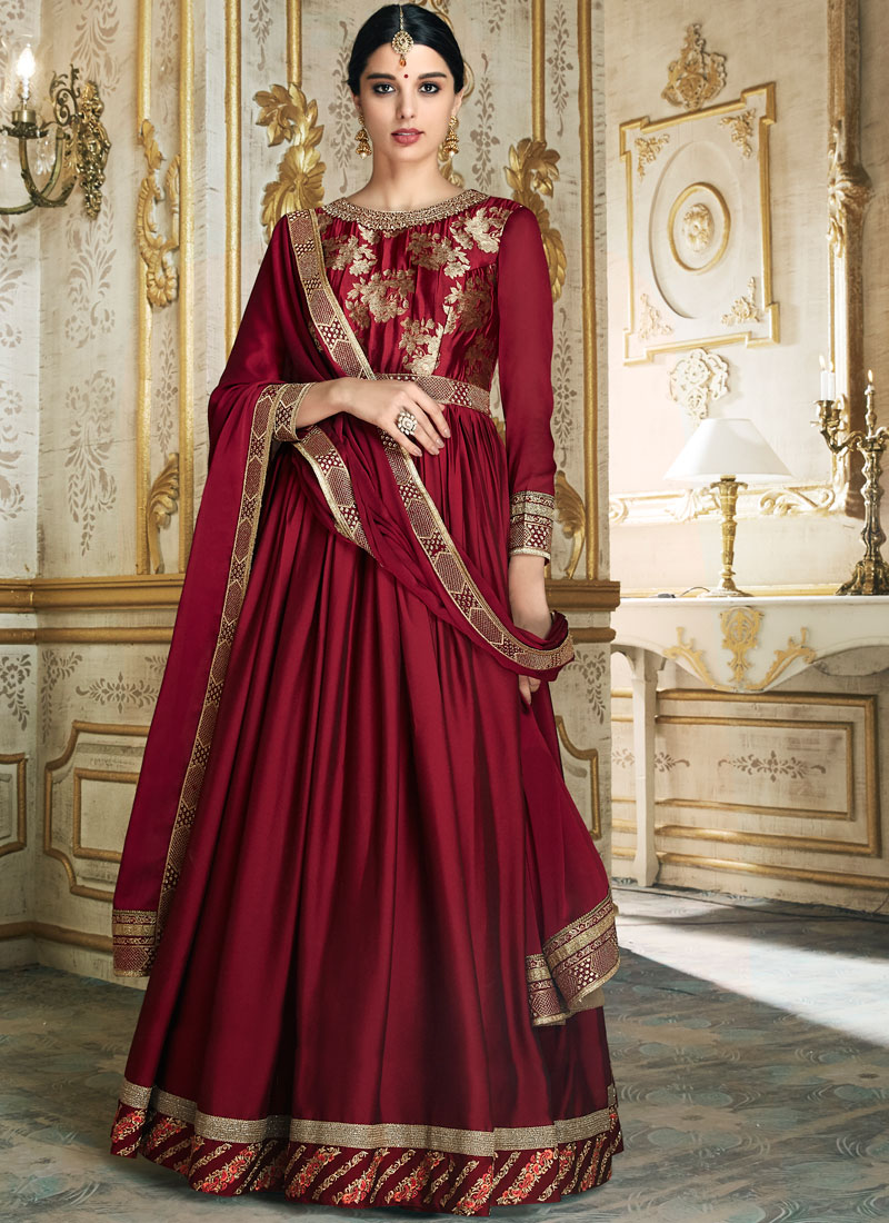 Maroon Art Silk Floor Length Anarkali Suit