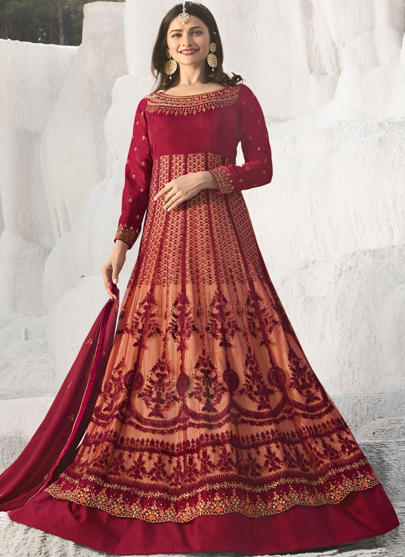Maroon Art Silk Sangeet Anarkali Suit