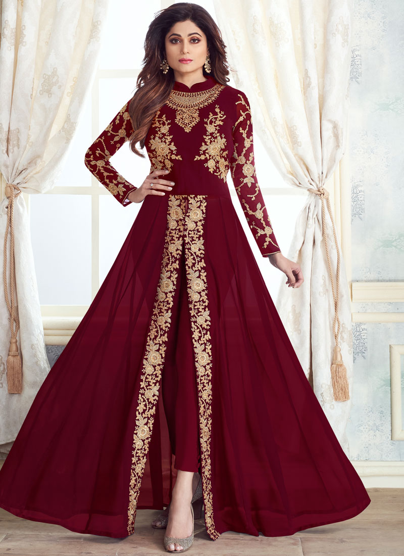 7d180b30b2 Maroon Embroidered Anarkali Salwar Suit. Hover to zoom