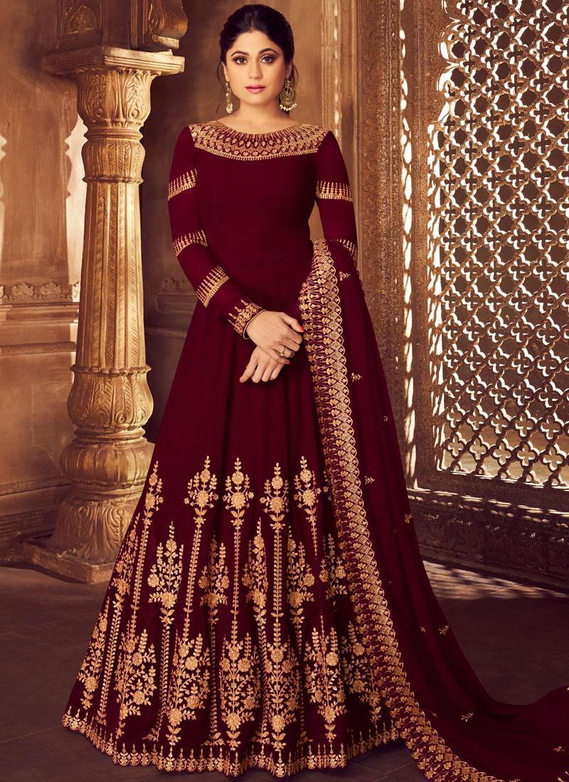 Maroon Embroidered Wedding Anarkali Salwar Suit