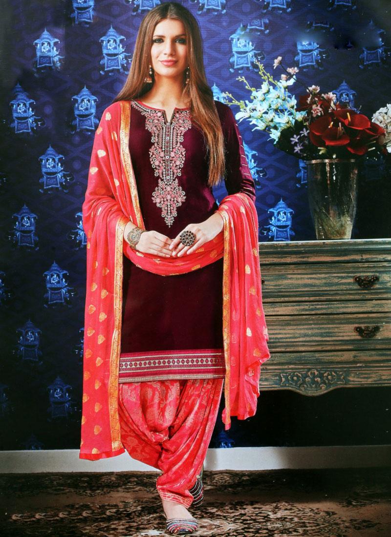 Maroon Satin Resham Designer Patiala Suit