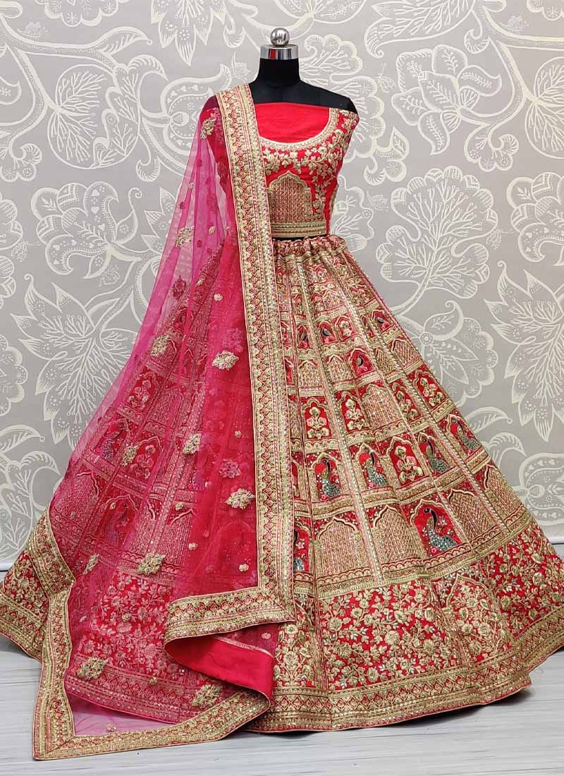Marvellous and Ingenious Work on Silk Fabric Pink Bridal Lehenga Choli with Dupatta and Heavy Blouse