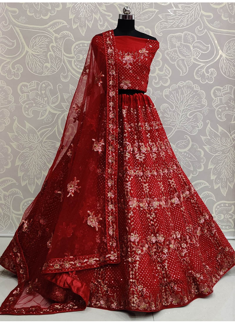 Marvelous Red Exceptionally Embroidered - Double Sequence Work Lehenga Choli