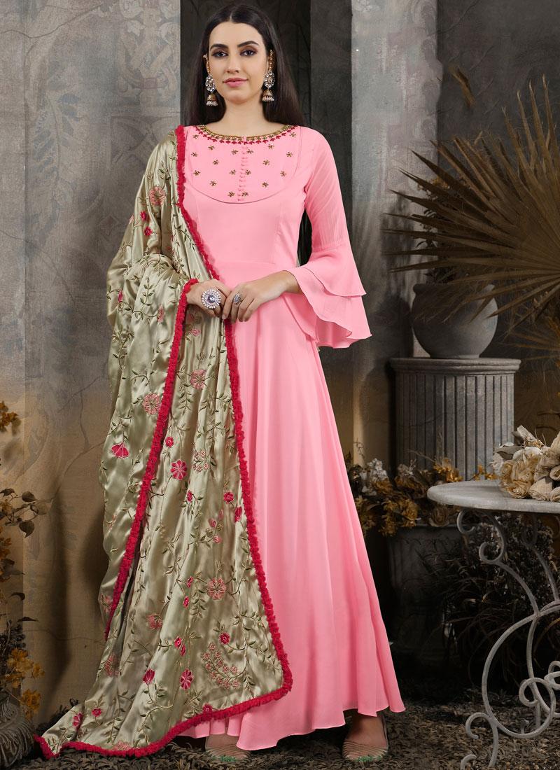 Maslin Cotton Handwork Pink Anarkali Salwar Suit