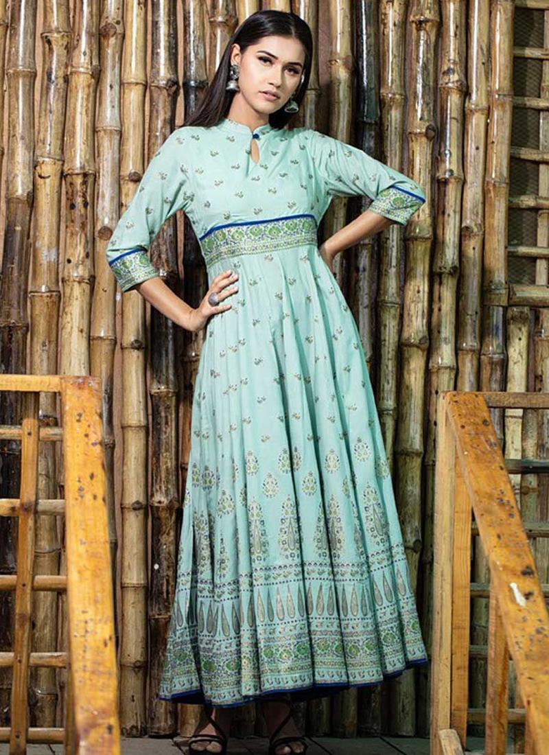 Maslin Cotton Print Aqua Blue Trendy Gown