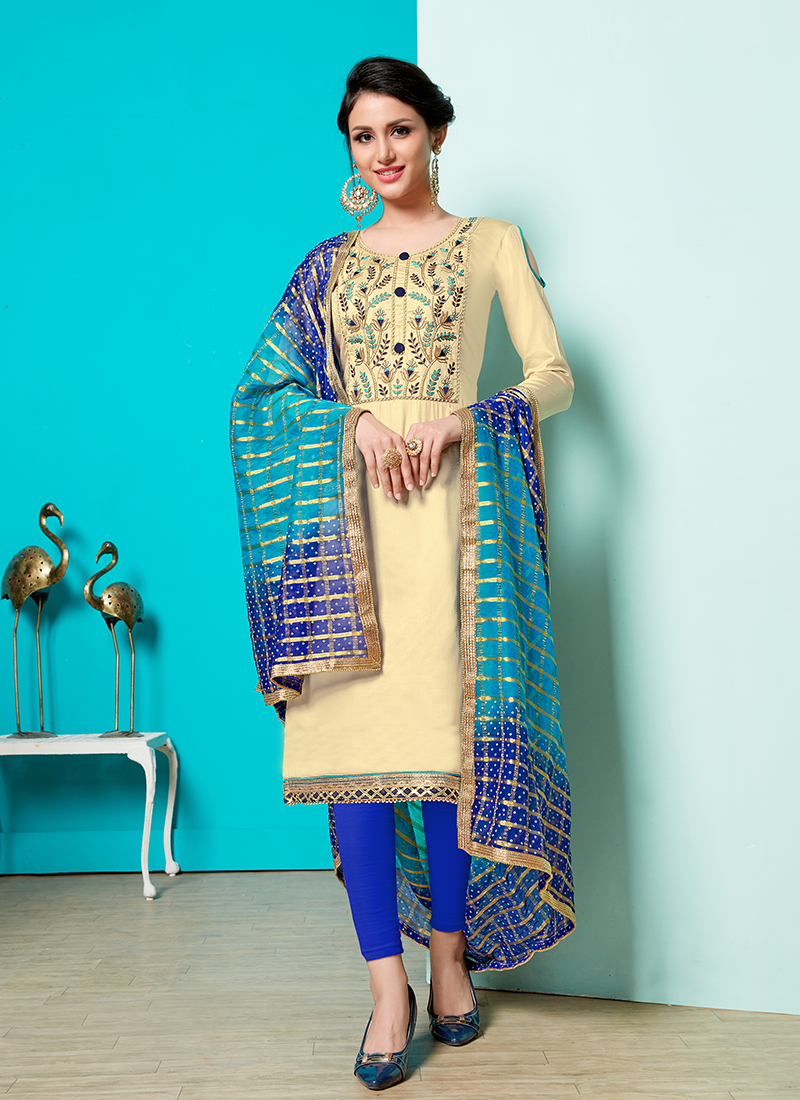 Masterly Print Party Churidar Suit