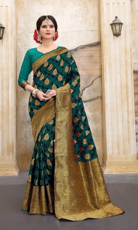 Mehendi and golden color abtract print saree