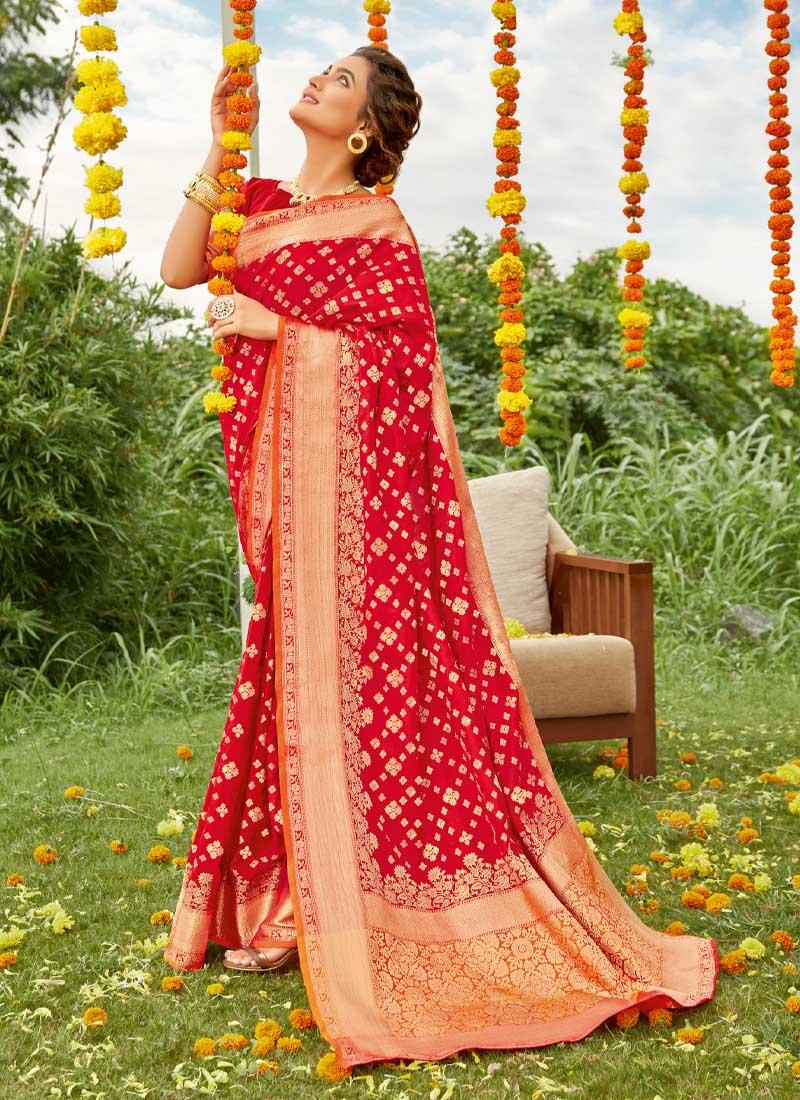 Mehndi Ceremony Wear Gold Print Silk Saree In Green