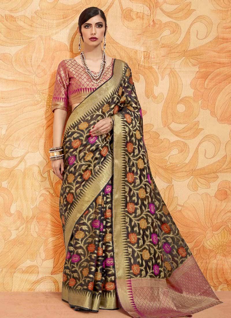 Mesmeric Black Abstract Print Handloom silk Classic Saree