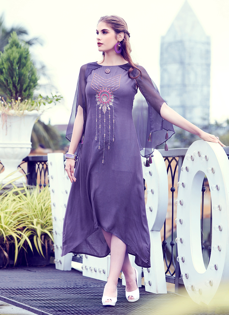 Mesmeric Embroidered Purple Fancy Fabric Party Wear Kurti