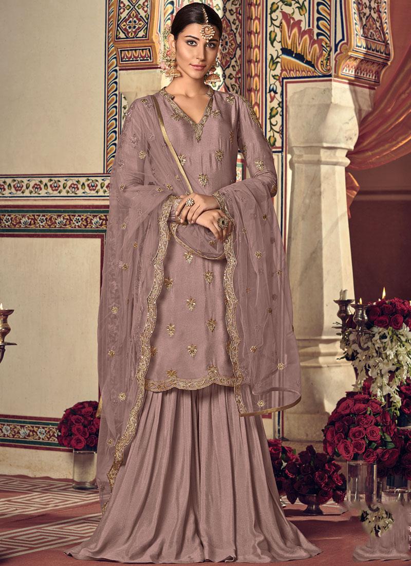 Mesmerizing Embroidered Wedding Palazzo Designer Salwar Kameez