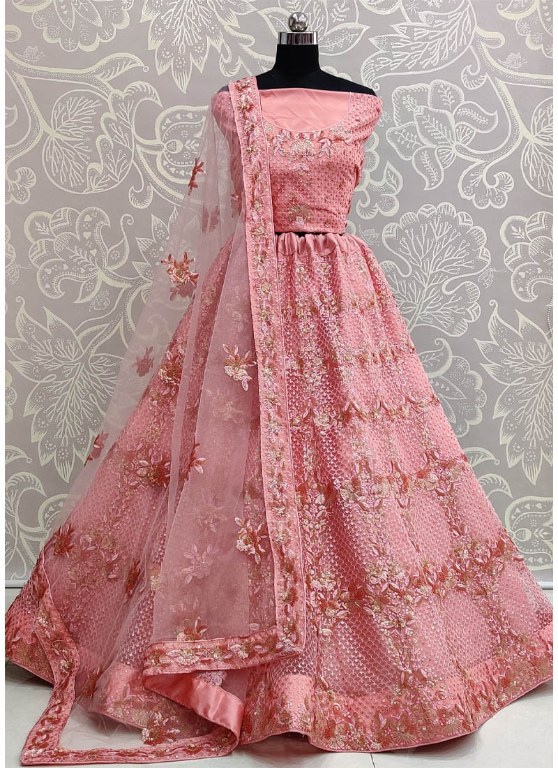 Mesmerizing Rose Gold Exceptionally Embroidered - Double Sequence Work Lehenga Choli