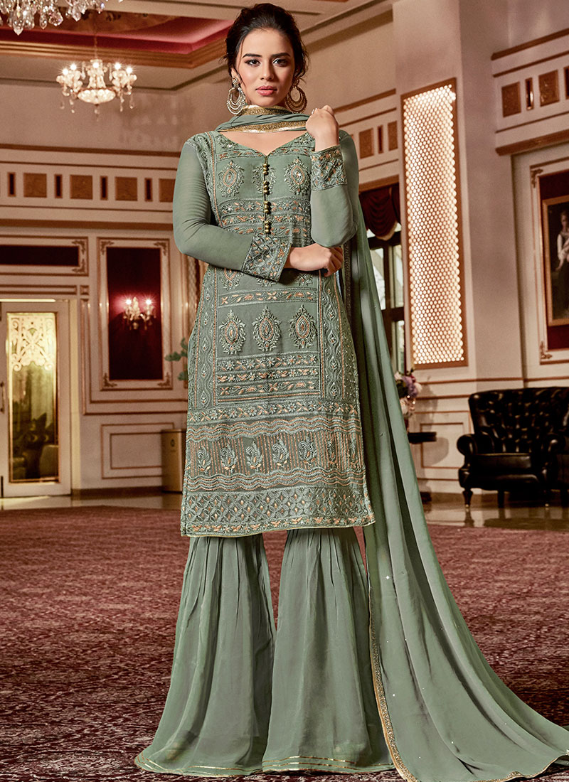 bc9a41cebb Miraculous Georgette Stone Work Green Designer Palazzo Salwar ...