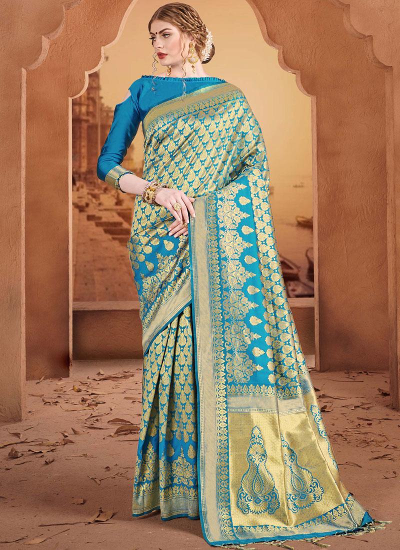 6c9a74d539 Miraculous Weaving Banarasi Silk Blue Traditional Saree. Hover to zoom