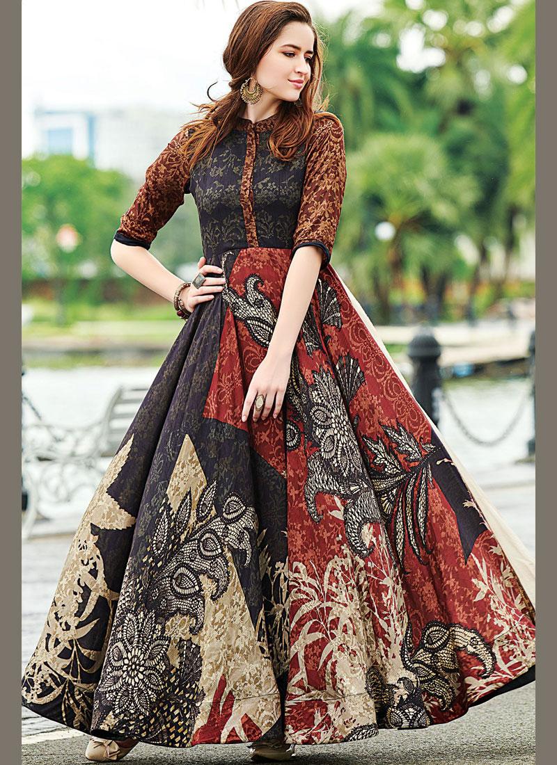 Mod Digital Print Cotton   Designer Gown