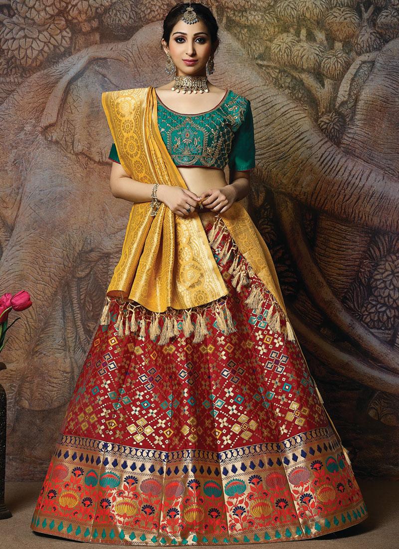 Mod Embroidered Red Silk Designer Lehenga Choli