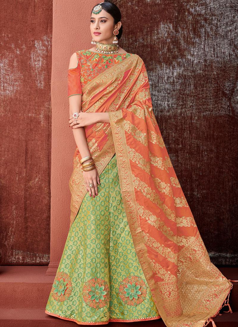 4f3947c25d Mod Green Jacquard Silk Trendy Lehenga Choli. Hover to zoom