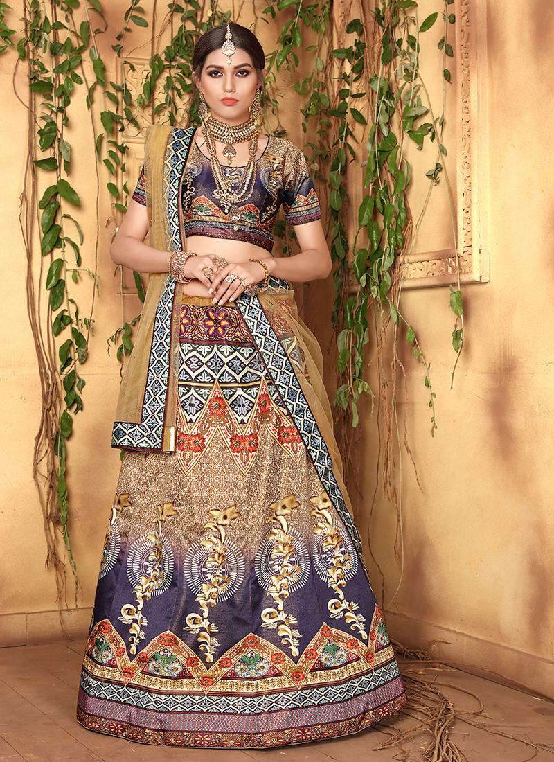 Mod Satin Wedding Designer Lehenga Choli