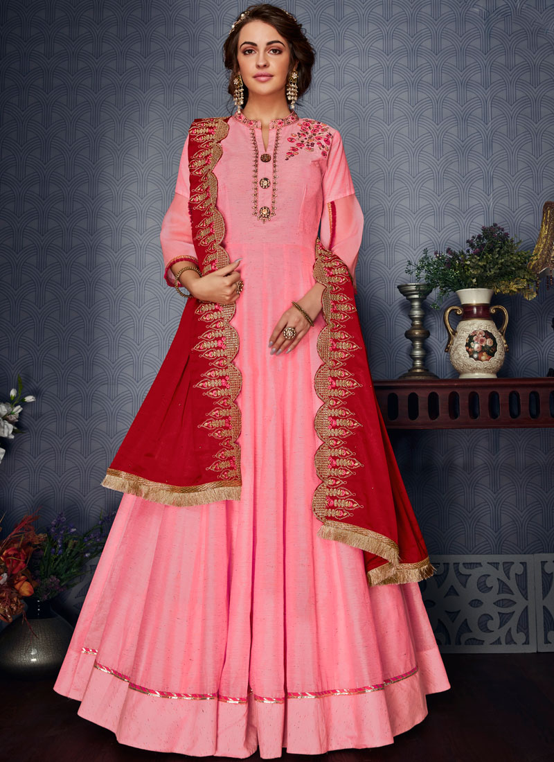 Modern Embroidered Pink Satin Silk Readymade Gown