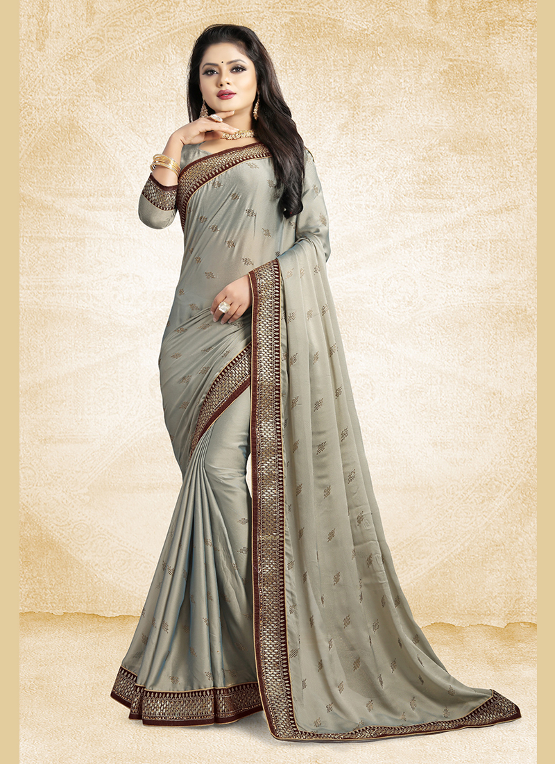 711cf780002239 Modernistic Georgette Satin Grey Patch Border Classic Designer Saree. Hover  to zoom
