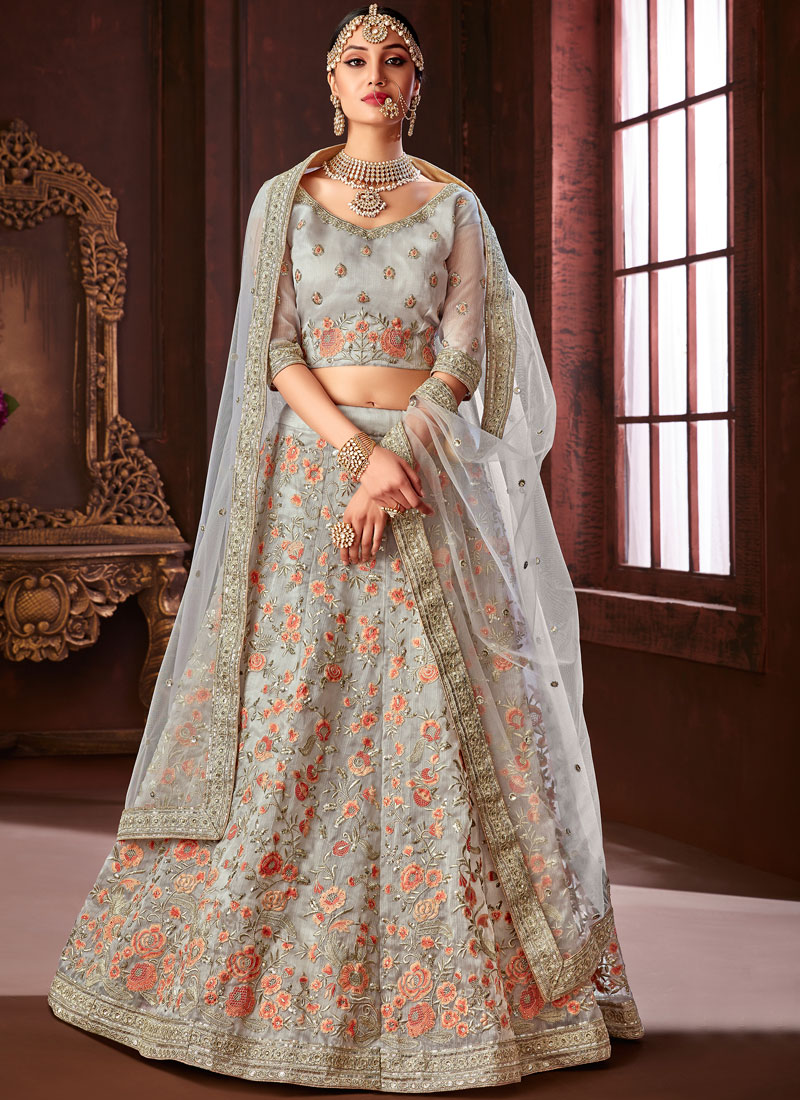 8cb6569ac6 Modest Silver Embroidered Silk Designer Lehenga Choli