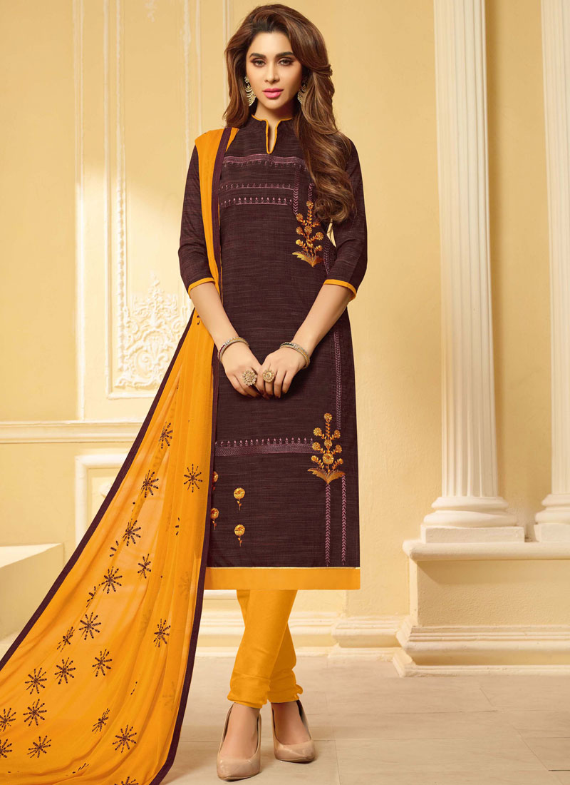 Modish Embroidered Brown Churidar Suit
