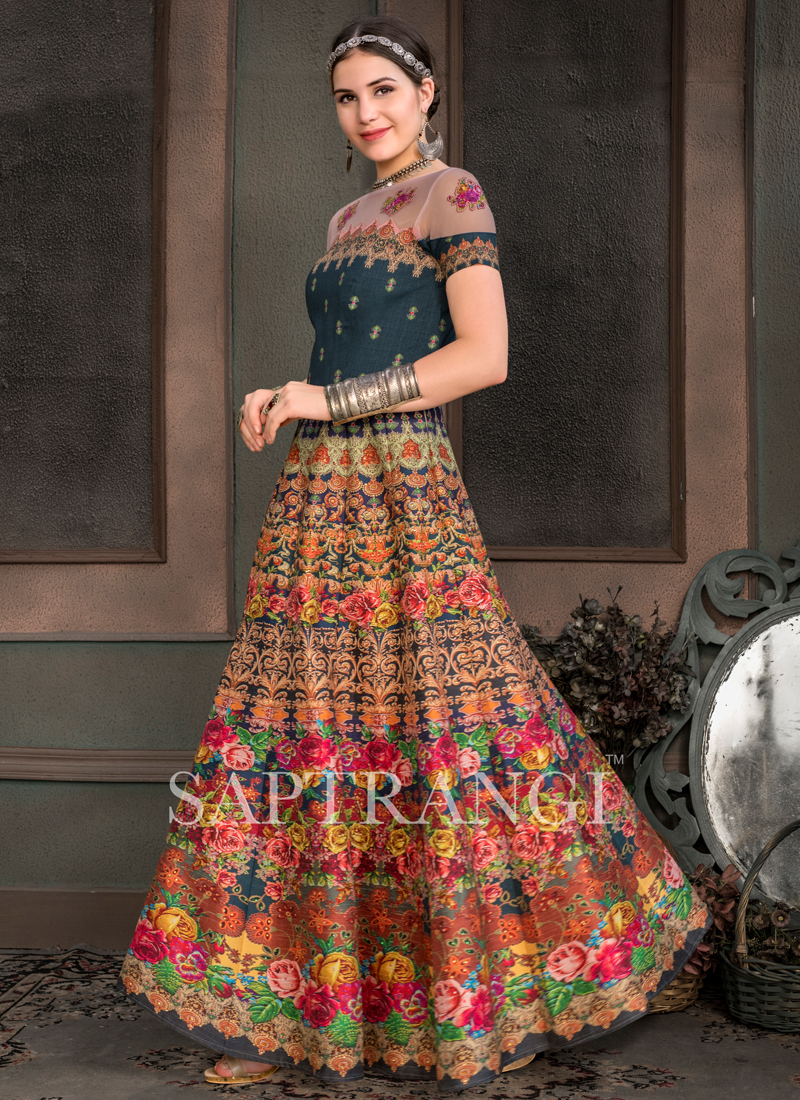 Monumental Fancy Fabric Print Designer Gown