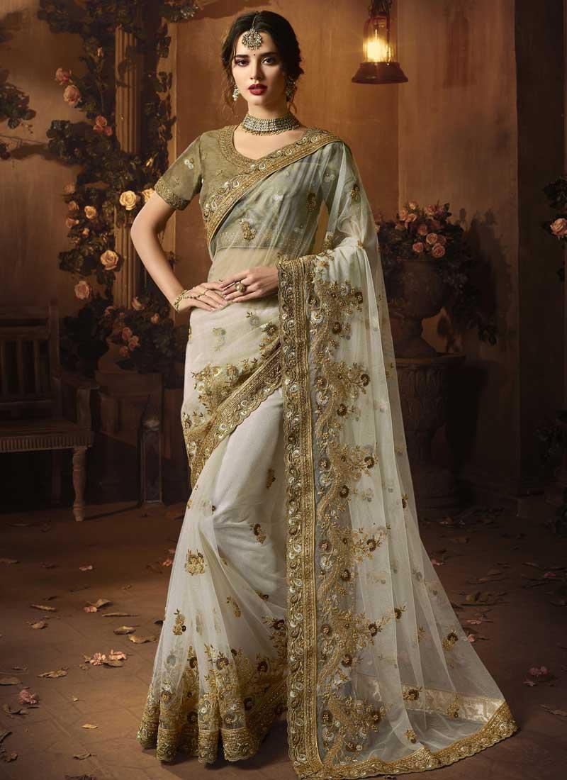 Monumental Grey Classic Designer Saree