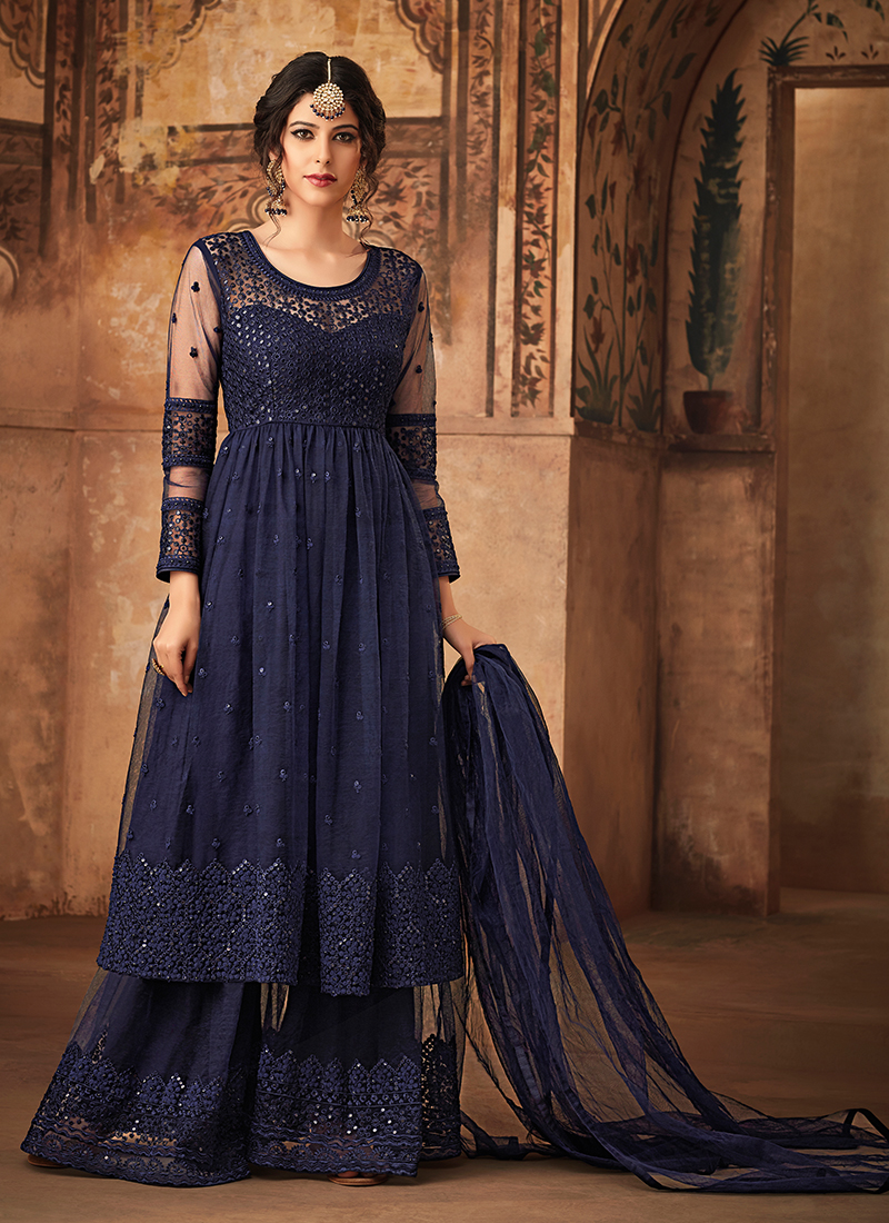 Monumental Net Embroidered Designer Pakistani Suit in navyblue