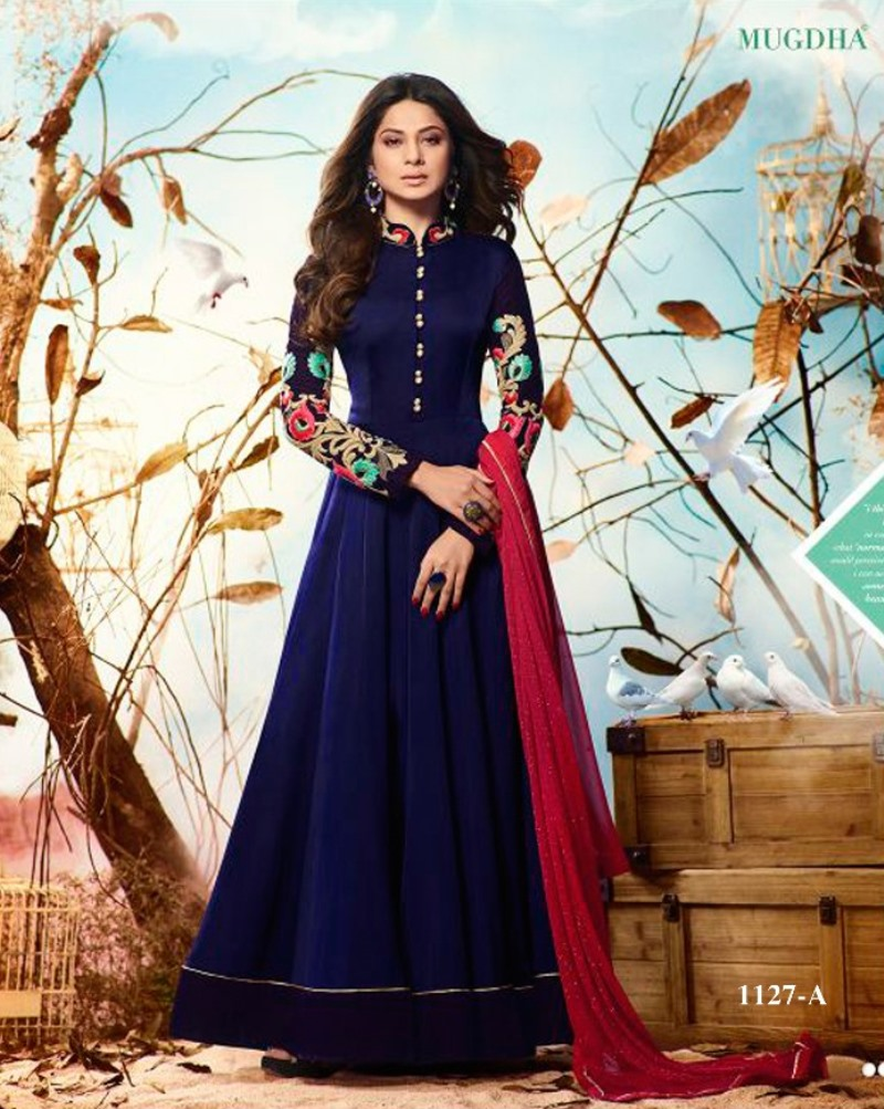 mugdha jenniffer winget blue color salwar suits