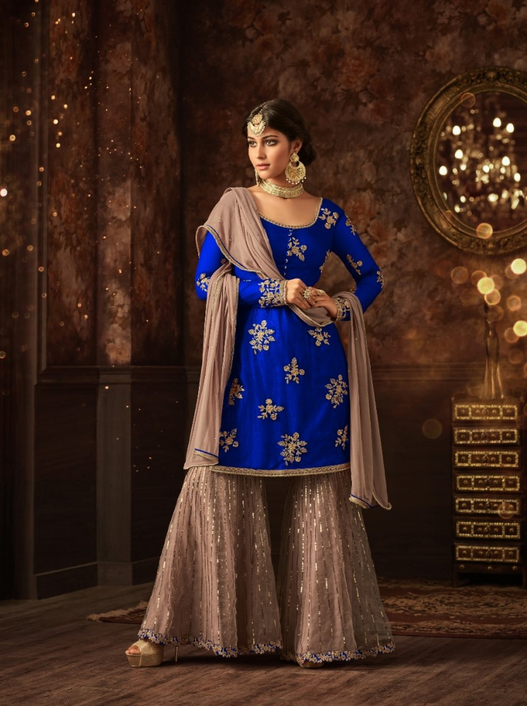 Sharara vaishnavi blue sharara suit