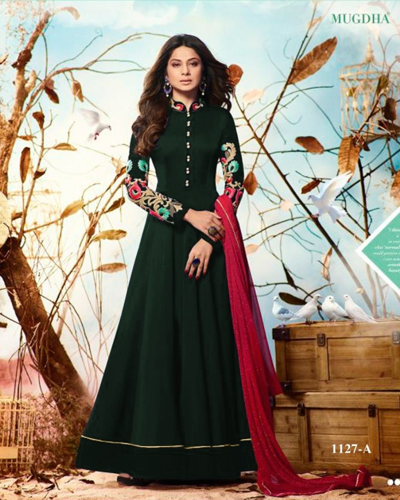 mugdha jenniffer winget green color salwar suits