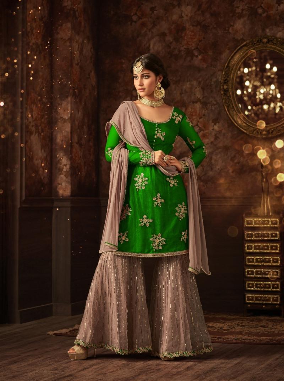 Sharara vaishnavi green sharara suit