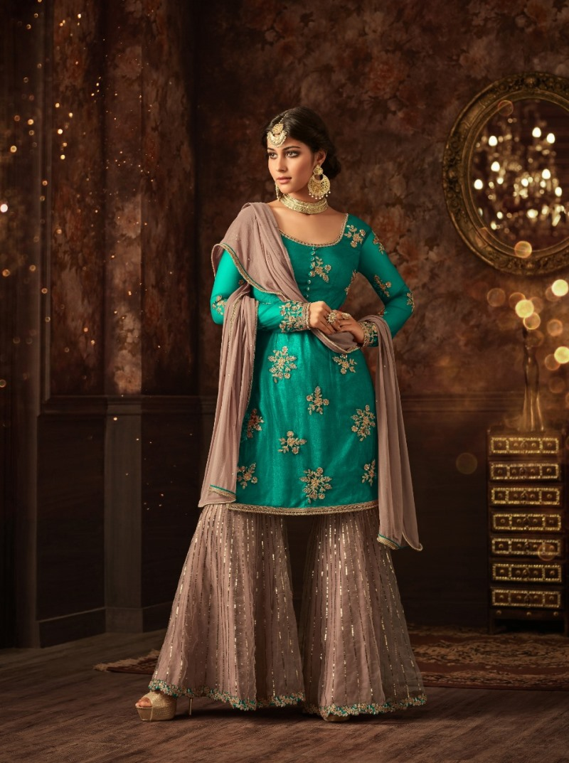 Sharara vaishnavi sea green sharara suit