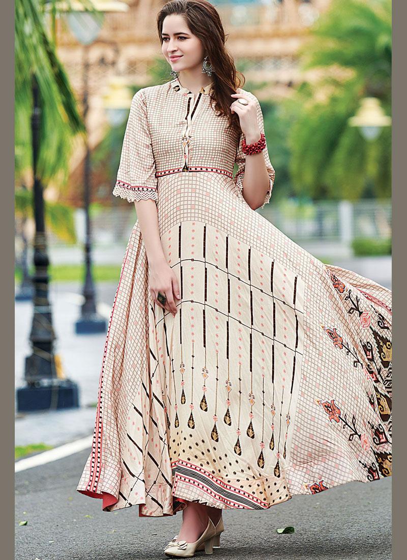 Multi Colour Digital Print Cotton   Designer Gown