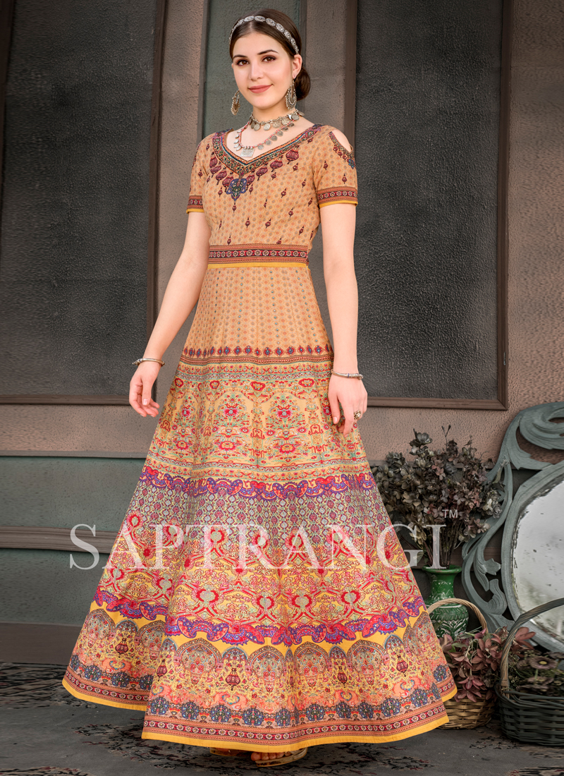 Multi Colour Embroidered Sangeet Designer Gown