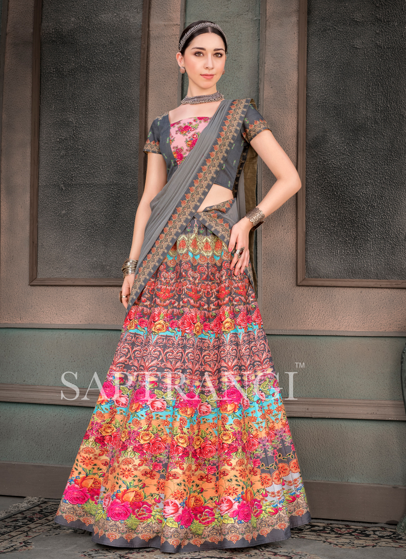 Multi Colour Embroidered Sangeet Lehenga Choli