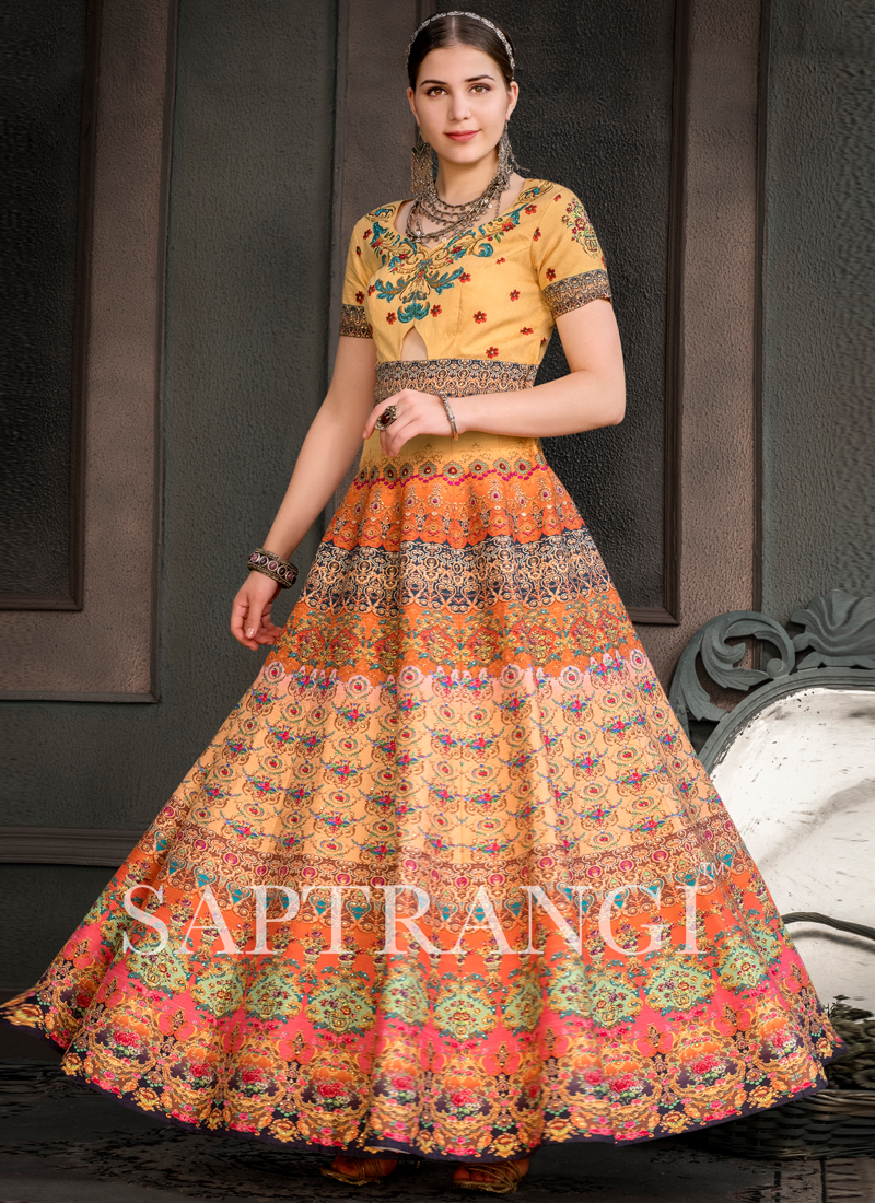 Multi Colour Fancy Fabric Embroidered Designer Gown