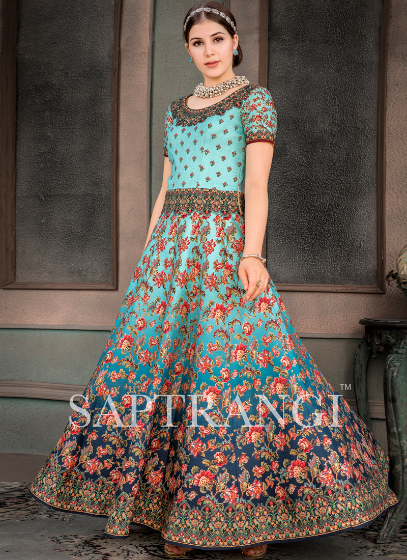 Multi Colour Fancy Fabric Sangeet Designer Gown