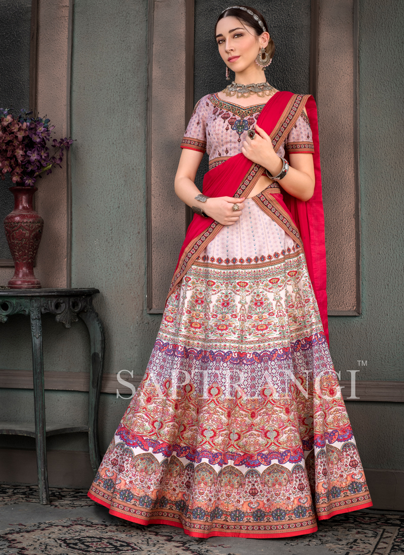 Multi Colour Fancy Fabric Sangeet Lehenga Choli