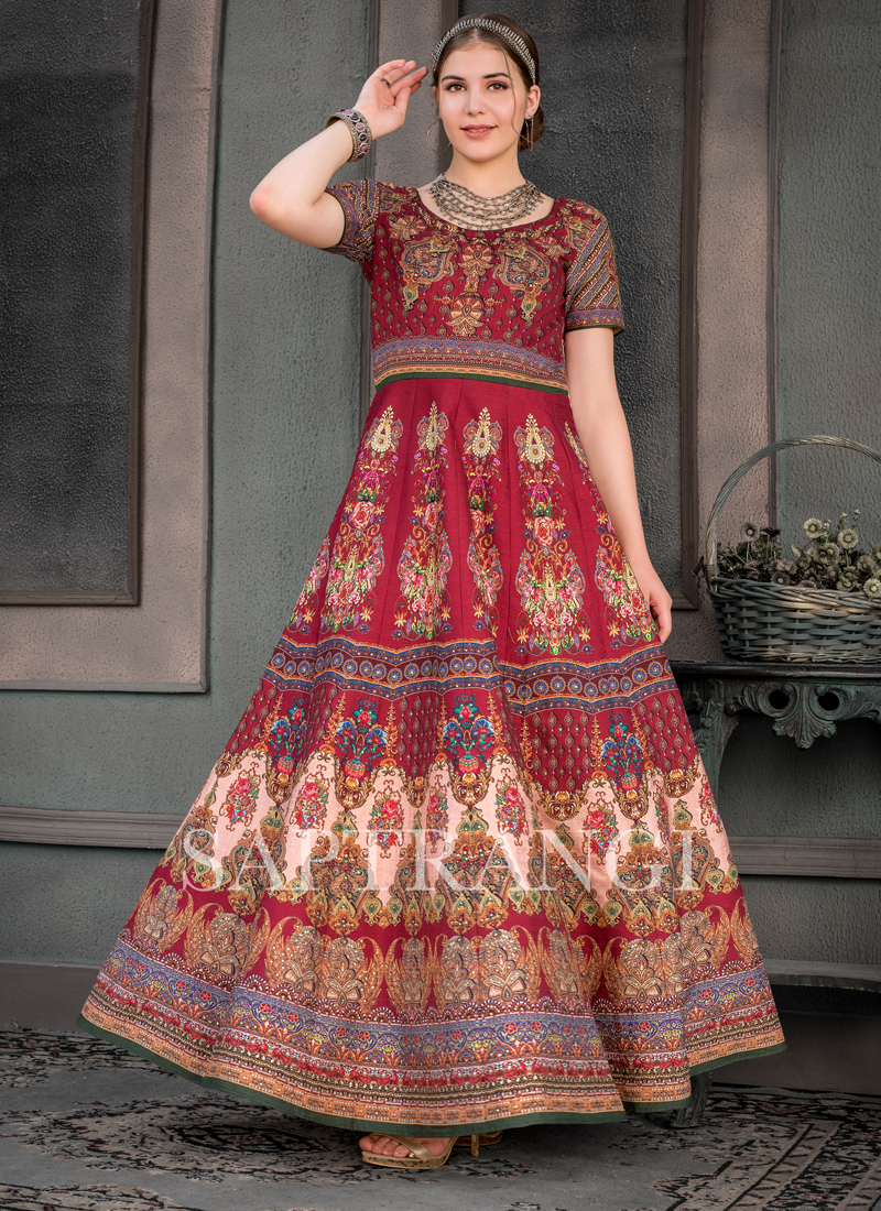 Multi Colour Mehndi Designer Gown