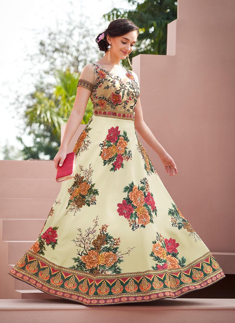 Multi Colour Resham Party Designer Gown