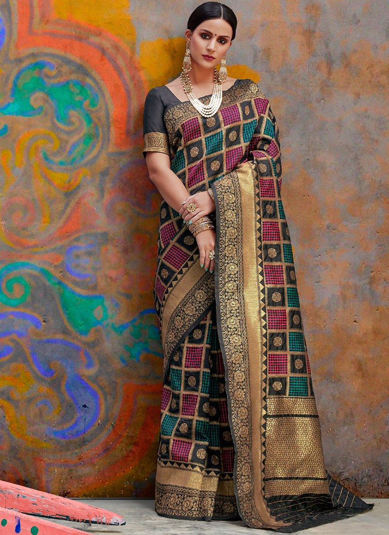 a346aba8850a10 Multi Colour Weaving Handloom silk Designer Traditional Saree