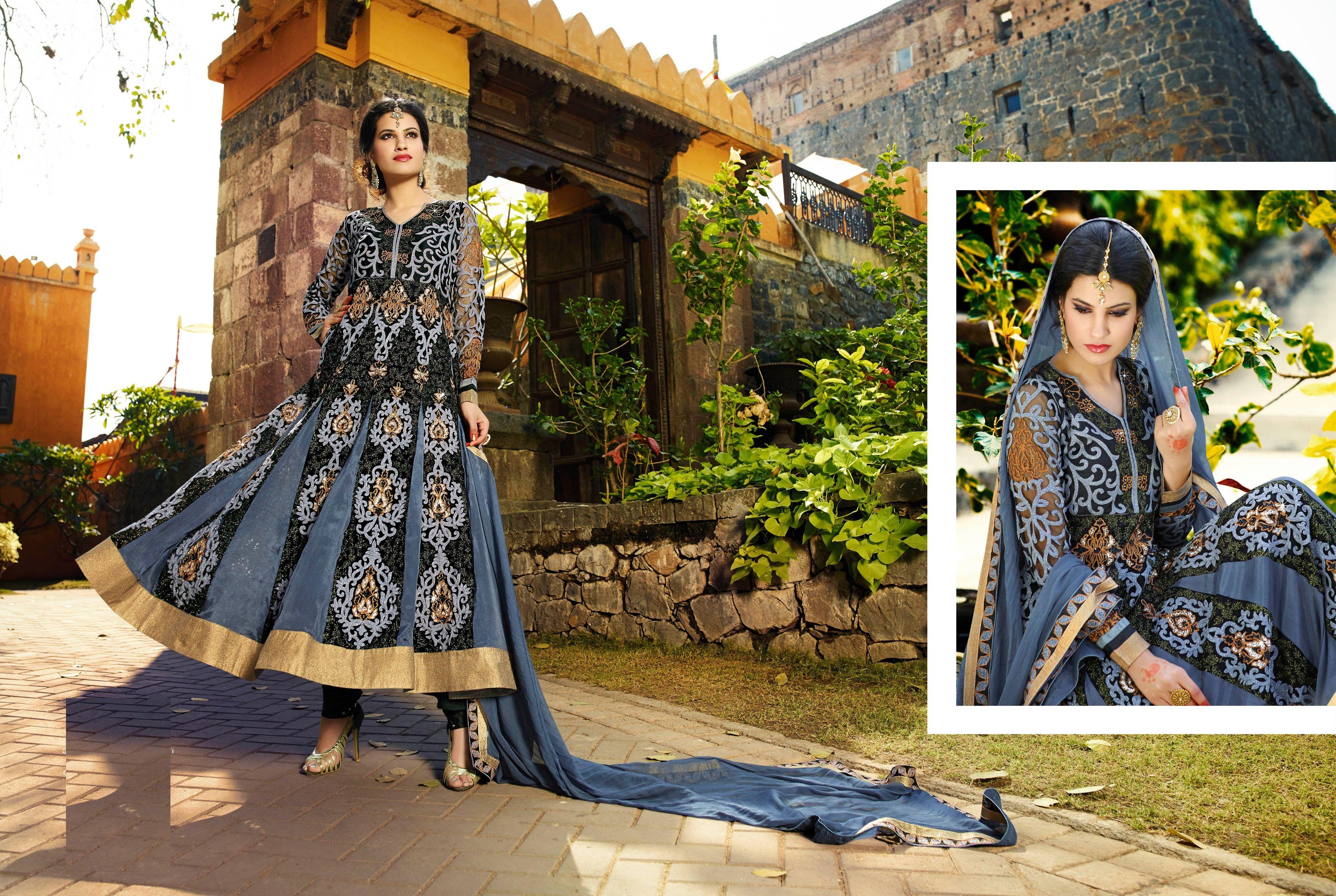 Multi Thread Embroidery Work Wedding Gown In Grey & Black